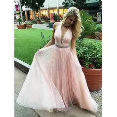 A-Line/Princess Beading Magnificent Tulle Evening Dresses