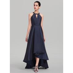 A-Line Scoop Neck Asymmetrical Taffeta Evening Dress With Beading Sequins (017137350)