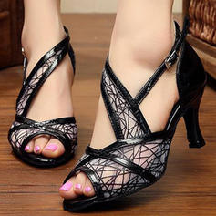 Donna Latino Sandalo Stiletto Similpelle Mesh Scarpe da ballo