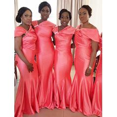 Trumpet/Mermaid Satin Bridesmaid Dresses Ruffle Beading Off-the-Shoulder Sleeveless Floor-Length