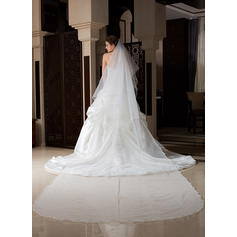 Cathedral Bridal Veils Tulle One-tier Drop Veil/Rectangular With Scalloped Edge Wedding Veils