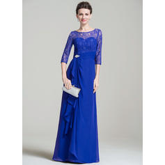 A-Line/Princess Scoop Neck Chiffon Lace 3/4 Sleeves Floor-Length Beading Sequins Cascading Ruffles Mother of the Bride Dresses