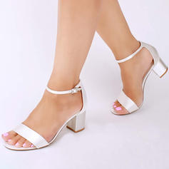 Women's Peep Toe Sandals Chunky Heel Satin With Buckle Wedding Shoes