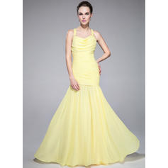 Trumpet/Mermaid Cowl Neck Sweep Train Chiffon Prom Dresses With Ruffle Beading Sequins