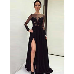 Beautiful Satin Evening Dresses A-Line/Princess Sweep Train Scoop Neck Long Sleeves (017210064)