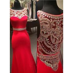 Trumpet/Mermaid Floor-Length Prom Dresses Scoop Neck Jersey Sleeveless (018144676)