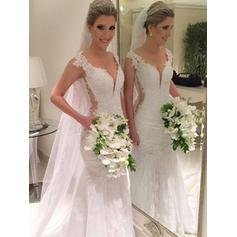 Fashion Court Train Trumpet/Mermaid Wedding Dresses V-neck Tulle Lace Sleeveless