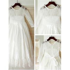 Scoop Neck A-Line/Princess Flower Girl Dresses Lace Bow(s) Long Sleeves Ankle-length (010211910)