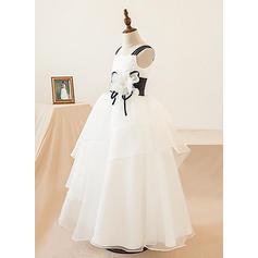 Forme Princesse Longueur ras du sol Robes à Fleurs pour Filles - Organza Sans manches Encolure carrée avec Fleur(s) (010103737)