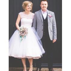 Scoop A-Line/Princess Wedding Dresses Tulle Lace Sleeveless Tea-Length