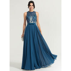 Vestidos princesa/ Formato A Decote redondo Longos Tecido de seda Vestido de festa com Curvado