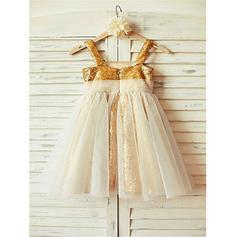 Escote Cuadrado Corte A/Princesa Vestidos para niña de arras Tul/Con lentejuelas Plisado Sin mangas Hasta la tibia (010212023)