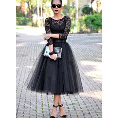 A-Line/Princess Scoop Neck Tea-Length Tulle Cocktail Dresses
