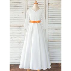 Corte A Longos Vestidos de Menina das Flores - Cetim/Renda Manga comprida Decote redondo com Cintos/Curvado (Faixa destacável)