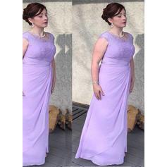 Corte A/Princesa Escote redondo Gasa Princesa Vestidos de madrina (008212773)