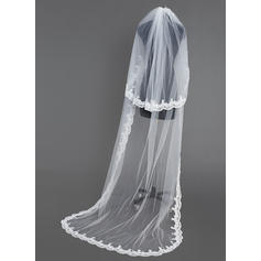 Chapel Bridal Veils Tulle Two-tier Oval/Drop Veil With Lace Applique Edge Wedding Veils