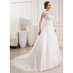 Gasa Encaje Corte de baile Deslumbrante Volantes Vestidos de novia (002019534)