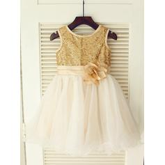 Delicate Knee-length A-Line/Princess Flower Girl Dresses Scoop Neck Tulle/Sequined Sleeveless