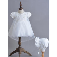 Tul Escote redondo Lazo(s) Vestidos de bautizo para bebés con Manga corta