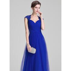 Vestidos princesa/ Formato A Amada Longos Tule Vestido para a mãe da noiva com Pregueado Beading Apliques de Renda lantejoulas (008072706)