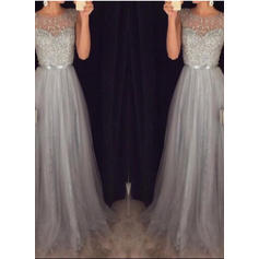 2019 New Tulle Evening Dresses Sweep Train A-Line/Princess Sleeveless Scoop Neck