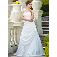 Flattering Taffeta Strapless Sleeveless Wedding Dresses (002000692)