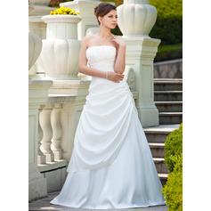 A-Line/Princess Taffeta Sleeveless Strapless Sweep Train Wedding Dresses (002000692)