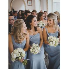 A-Line/Princess Chiffon Bridesmaid Dresses Ruffle One-Shoulder Sleeveless Floor-Length (007145040)