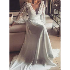 Deep V Neck Chiffon Long Sleeves Fashion Wedding Dresses (002147942)