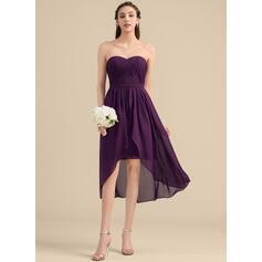 Corte A Amada Assimétrico Tecido de seda Vestido de madrinha