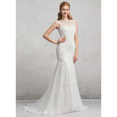 Trompete/Sereia Ilusão Sweep/Brush trem Tule Renda Vestido de noiva com Beading lantejoulas (002083689)