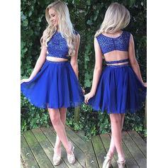 A-Line/Princess Scoop Neck Chiffon Sleeveless Short/Mini Beading Homecoming Dresses