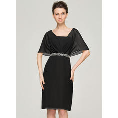 Sheath/Column Chiffon Short Sleeves V-neck Knee-Length Zipper Up Mother of the Bride Dresses (008062574)