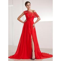 Chiffon Elegant Evening Dresses With Off-the-Shoulder (017200480)