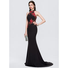 Trumpet/Mermaid Halter Sweep Train Stretch Crepe Evening Dress With Appliques Lace (017164979)
