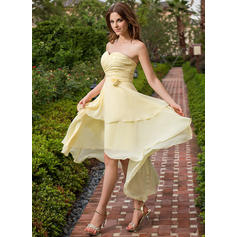 A-Line/Princess Sweetheart Asymmetrical Bridesmaid Dresses With Ruffle Flower(s)
