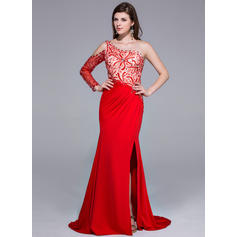 Trumpet/Mermaid Charmeuse Jersey Prom Dresses Beading Split Front One-Shoulder Long Sleeves Sweep Train (018025647)