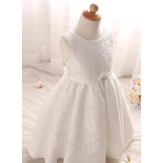 Cetim Decote redondo Strass Vestidos de batismo do bebê com Sem magas (2001217414)