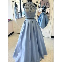 Satin Sleeveless A-Line/Princess Prom Dresses High Neck Beading Appliques Lace Floor-Length
