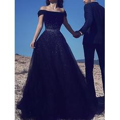 A-Line/Princess Off-the-Shoulder Floor-Length Tulle Prom Dresses With Beading (018217265)