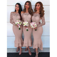 Sheath/Column Stretch Crepe Bridesmaid Dresses Lace Off-the-Shoulder Long Sleeves Asymmetrical