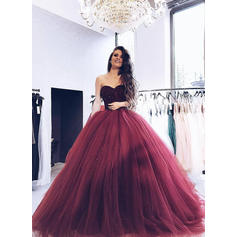 Tulle Sleeveless Ball-Gown Prom Dresses Sweetheart Beading Sweep Train