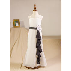 A-Line/Princess Floor-length Flower Girl Dress - Chiffon Sleeveless Straps With Sash/Beading/Flower(s)