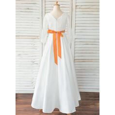 Corte A Longos Vestidos de Menina das Flores - Cetim/Renda Manga comprida Decote redondo com Cintos/Curvado (Faixa destacável) (010183532)