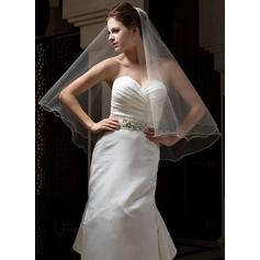 Voile de mariée longueur bout des doigts Tulle 1 couche Style Classique avec Bord festonné Voiles de mariage