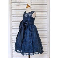 Forme Princesse Longueur mollet Robes à Fleurs pour Filles - Dentelle Sans manches Col rond avec À ruban(s) (010091410)
