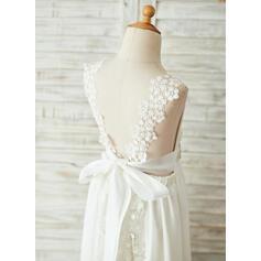 Forme Princesse Longueur ras du sol Robes à Fleurs pour Filles - Mousseline/Dentelle Sans manches Col V (010153242)