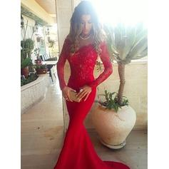 Gorgeous V-neck Long Sleeves Trumpet/Mermaid Satin Prom Dresses