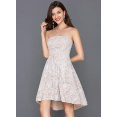 A-Line/Princess Strapless Asymmetrical Lace Cocktail Dress
