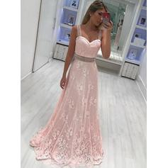 Lace Sleeveless A-Line/Princess Prom Dresses Sweetheart Sash Beading Appliques Lace Floor-Length